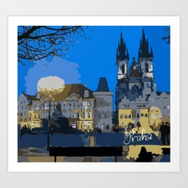 Praha night view Art Print