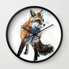 Fox watercolor Wall Clock
