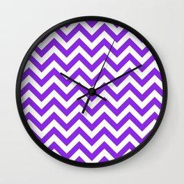 Chevron pattern / blue violent Wall Clock