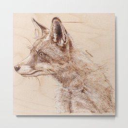 Red Fox Portrait - Drawing by Burning on Wood - Pyrography art Metal Print