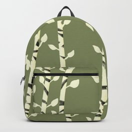 Birch branches olive green Backpack