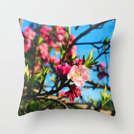 Grandma's Pink Flowers Throw Pillow