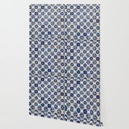 Vintage Blue Ceramic Tiles Wallpaper