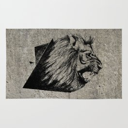 Angry Concrete Lion Rug