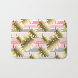 Tropical gold cheese leaves pastel color stripes Bath Mat