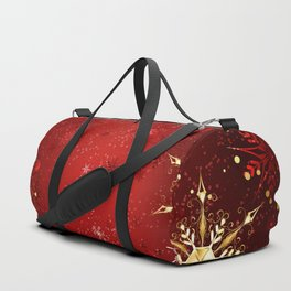 Red Background with Gold Snowflakes Duffle Bag