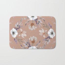 Floral Square Coral Bath Mat