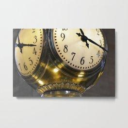 Gold clock Metal Print