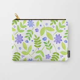 Purple Floral Watercolor Pattern Carry-All Pouch
