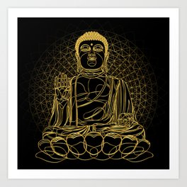 Golden Buddha on Black Art Print