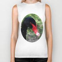 black swan Biker Tanks featuring Black Swan by Moonshine Paradise
