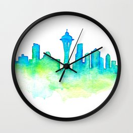 Seattle Skyline Watercolor in Blue and Green Wall Clock