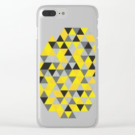 Sunny Yellow and Grey / Gray - Hipster Geometric Triangle Pattern Clear iPhone Case
