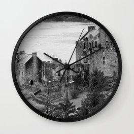 Eilean Donan Castle in B and W Wall Clock
