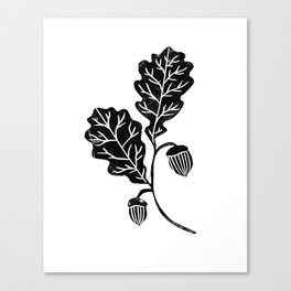 Oak Leaf linocut black and white lino illustration printmaking fall autumn winter home decor minimal Canvas Print
