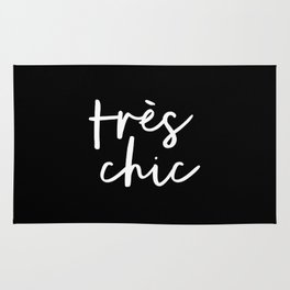 Tres Chic black and white modern french typography quote poster canvas wall art home decor Rug