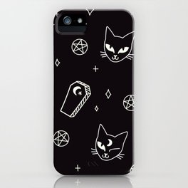 Cute Goth Kitties & Coffins iPhone Case