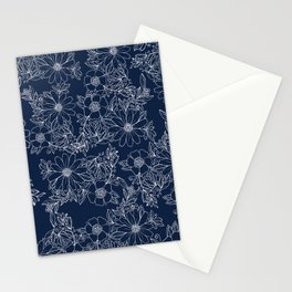 Artistic hand painted navy blue white modern floral Stationery Cards