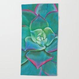 Vibrant Aqua Succulent Plant Beach Towel
