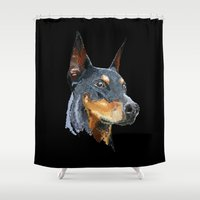 doberman Shower Curtains featuring Doberman by Det Tidkun