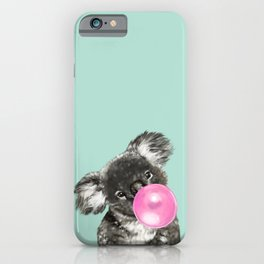 Playful Koala Bear with Bubble Gum in Green iPhone Case
