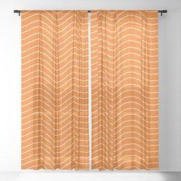 Surfing Waves Orange Sheer Curtain