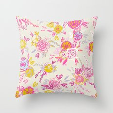 Flower garden in pink and yellow Throw Pillow
