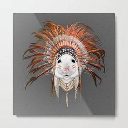 Orange Feather Mouse Metal Print
