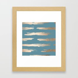 Abstract Painted Stripes Gold Tropical Ocean Blue Framed Art Print