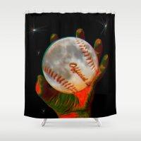 baseball Shower Curtains featuring Baseball Moon by Mel Moongazer