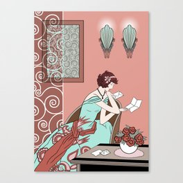 CLARICE: Art Deco Lady - Late Summer Canvas Print