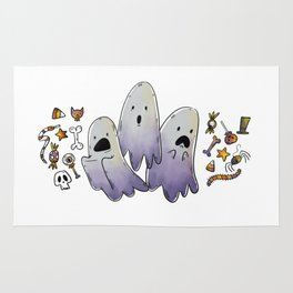 Scared Ghosts with Halloween Candy Rug