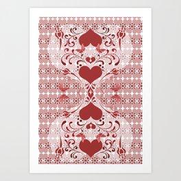 Folk Art Heart and Swirls Art Print