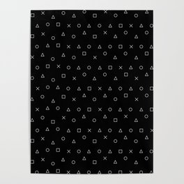 black gaming pattern - gamer design - playstation controller symbols Poster