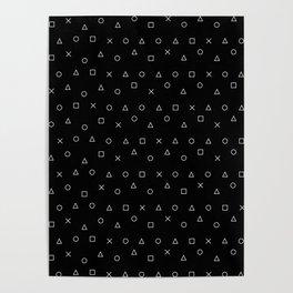 black gaming pattern - gamer design - playstation controller symbols Poster