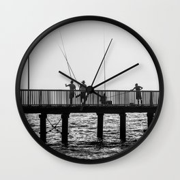 Sunset fishing Wall Clock