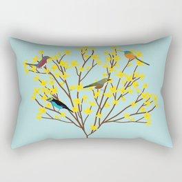 birds on forsythia bush designed for bird and nature lovers Rectangular Pillow