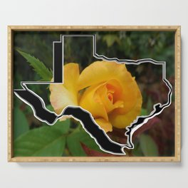 Yellow Rose of Texas with Texas Serving Tray