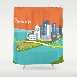 Pittsburgh, Pennsylvania - Skyline Illustration by Loose Petals Shower Curtain