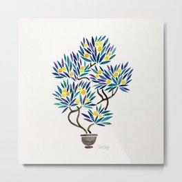 Bonsai Fruit Tree – Lemons Metal Print