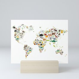 Cartoon animal world map for children and kids, Animals from all over the world on white background Mini Art Print