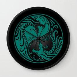Teal Blue and Black Yin Yang Dragons Wall Clock