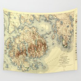 Map Of Acadia National Park 1931 Wall Tapestry