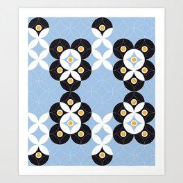 Blue White Black Greek Modern Mosaic Art Print