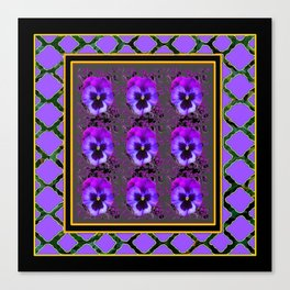 GARDEN OF PURPLE PANSY FLOWERS BLACK & TEAL PATTERNS Canvas Print