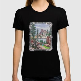 SIERRA NEVADA DREAMING VINTAGE PEN AND COLOR PENCIL DRAWING T-shirt
