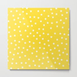 Yellow background with white stars seamless pattern Metal Print