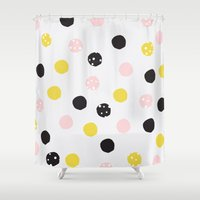polka dot Shower Curtains featuring Polka Dot  by Naomi Hadfield