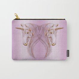 Golden Unicorn Heads Carry-All Pouch