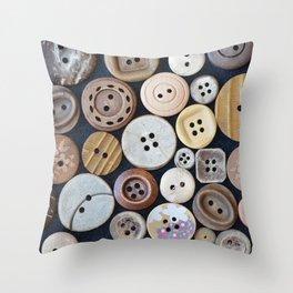 Wooden Buttons Throw Pillow